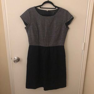 Brooks Brothers 346 Navy White Tweed Dress 12 EUC